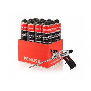 Klijuojančios putos Penosil Premium Polystyrol FixFoam 877, 12vnt.+dovana