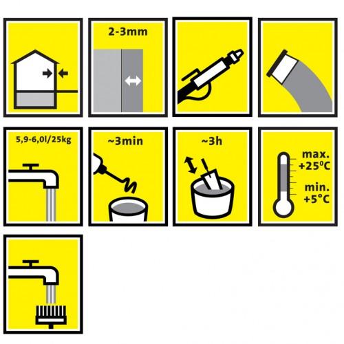 GMS / Mūro mišinys tiksliems akyto betono ir silikatiniams blokeliams 25kg.