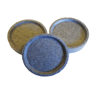 Formuotos polistireninio putplasčio tabletės Ø 69 mm, 20 mm storio