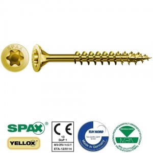 SPAX medsraigčiai daliniu sriegiu, geltoni, su torx galvute